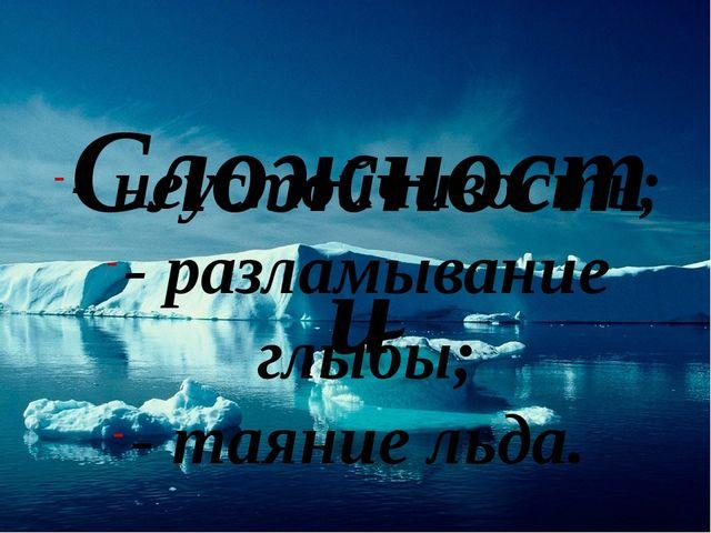 Сложности - неустойчивость; - разламывание глыбы; - таяние льда.