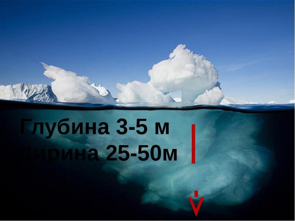 Глубина 3-5 м Ширина 25-50м