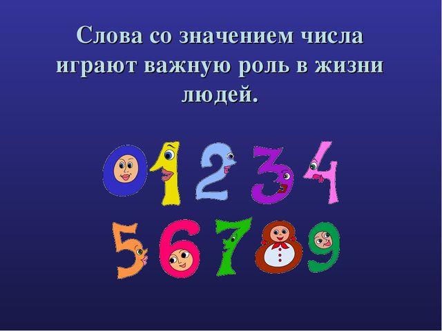 Слова со значением числа играют важную роль в жизни людей.