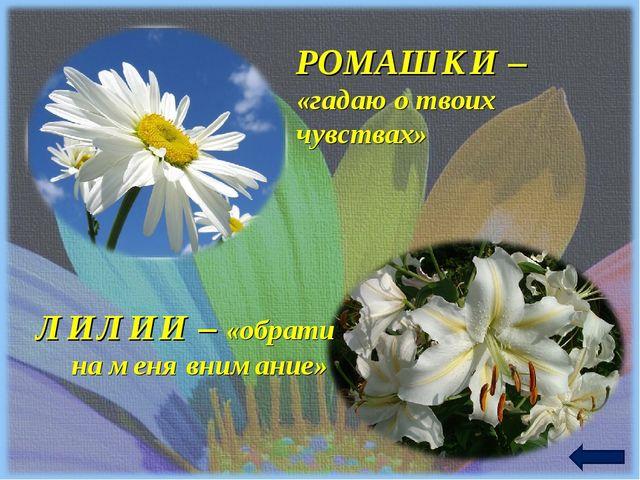 РОМАШКИ – «гадаю о твоих чувствах» ЛИЛИИ – «обрати на меня внимание»