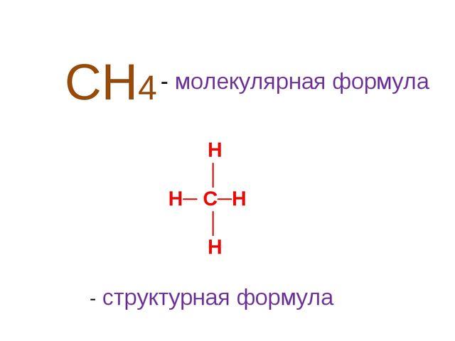 СН4 - молекулярная формула Н │ Н─ С─Н │ Н - структурная формула