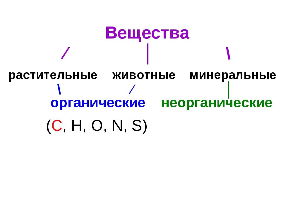 Вещества ⁄ │ \ растительные животные минеральные органические неорганические...