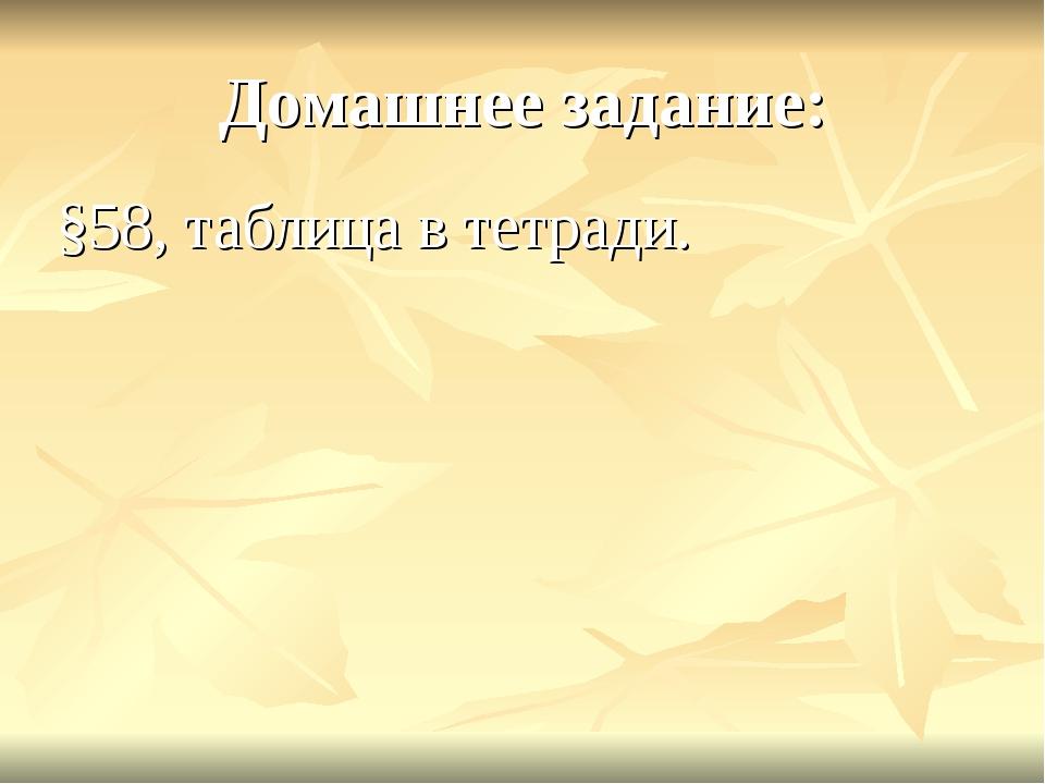 Домашнее задание: §58, таблица в тетради.