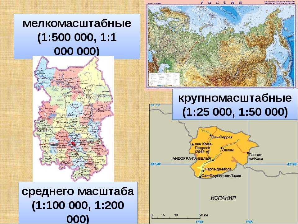 мелкомасштабные (1:500 000, 1:1 000000) крупномасштабные (1:25 000, 1:50 000...