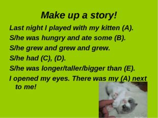 Make up a story! Last night I played with my kitten (A). S/he was hungry and