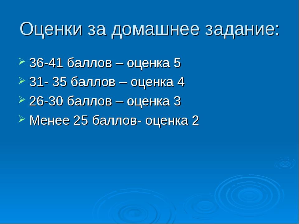 Оценки за домашнее задание: 36-41 баллов – оценка 5 31- 35 баллов – оценка 4...