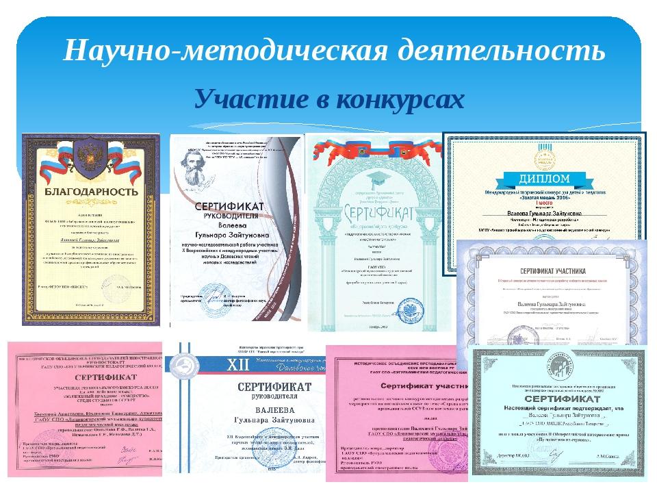 Участие в конкурсах Научно-методическая деятельность