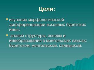 Цели: изучение морфологической дифференциации исконных бурятских имен; анализ