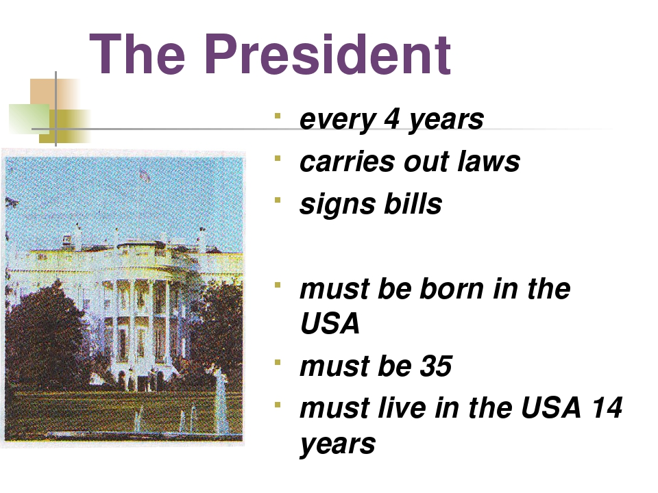 The President every 4 years carries out laws signs bills must be born in the...