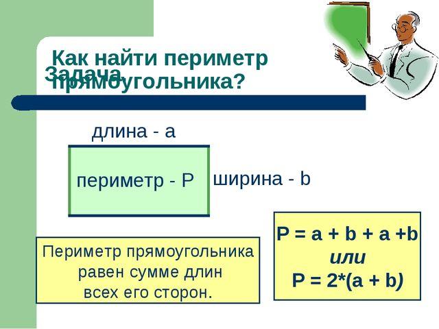Задача. длина - а ширина - b Как найти периметр прямоугольника? Периметр прям...