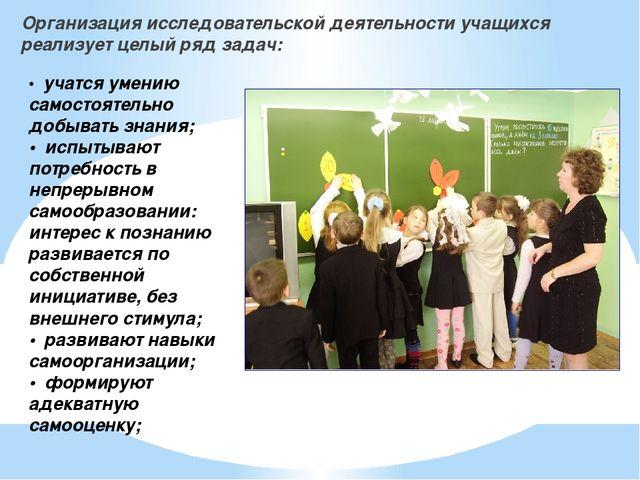 Организация исследовательской деятельности учащихся реализует целый ряд задач...