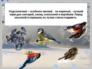 - Подсолнечник – особенно мелкий, не жареный, - лучший корм для снегирей,