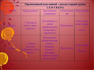 Перспективный план занятий с детьми старшей группы НеделяС Е Н Т Я Б Р Ь