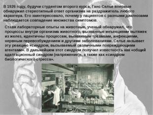 В 1926 году, будучи студентом второго курса, Ганс Селье впервые обнаружил сте