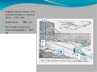 Найдите высоту скалы АА1, если расстояние от скалы до шеста А1В1=20м Длина ше