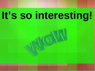 It's so interesting! It's so interesting!