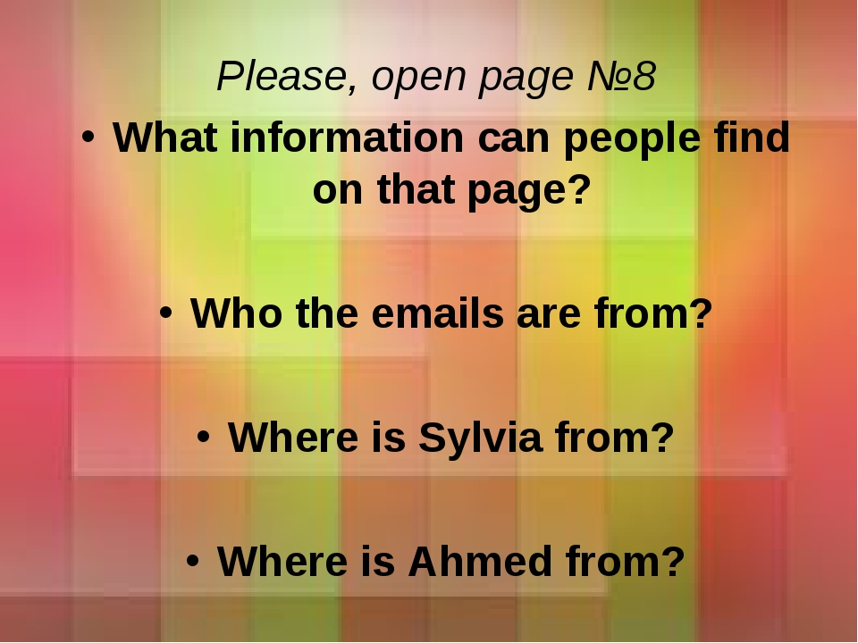 Please, open page №8 What information can people find on that page? Who the e...