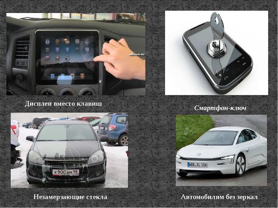 Дисплеи вместо клавиш Смартфон-ключ Незамерзающие стекла Автомобилям без зеркал