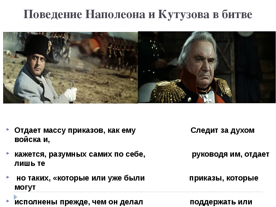 Поведение Наполеона и Кутузова в битве Отдает массу приказов, как ему Следит...