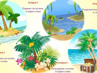 Остров 1 Непроизносимая согласная в корне слова Остров 2 Безударная гласная в