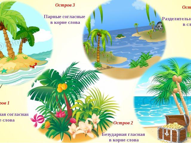 Остров 1 Непроизносимая согласная в корне слова Остров 2 Безударная гласная в...
