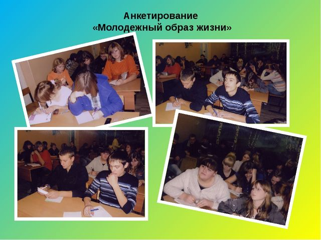 Анкетирование «Молодежный образ жизни»