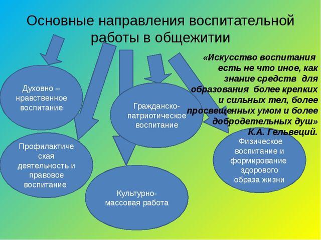 Основные направления воспитательной работы в общежитии Духовно –нравственное...