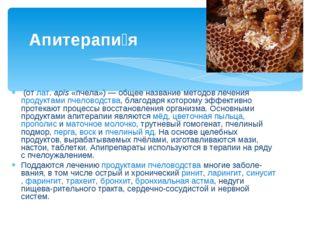 (от лат. apis «пчела») — общее название методов лечения продуктами пчеловодс