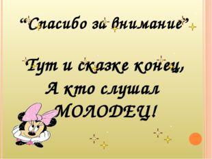"""""""Спасибо за внимание"""" Тут и сказке конец, А кто слушал МОЛОДЕЦ!"""