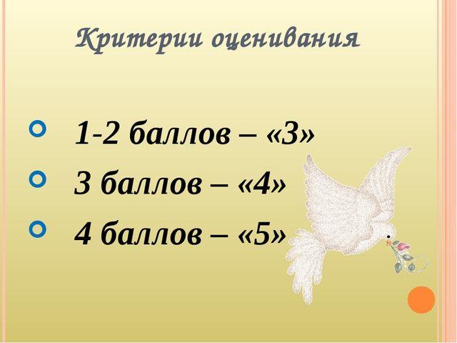 Критерии оценивания 1-2 баллов – «3» 3 баллов – «4» 4 баллов – «5»