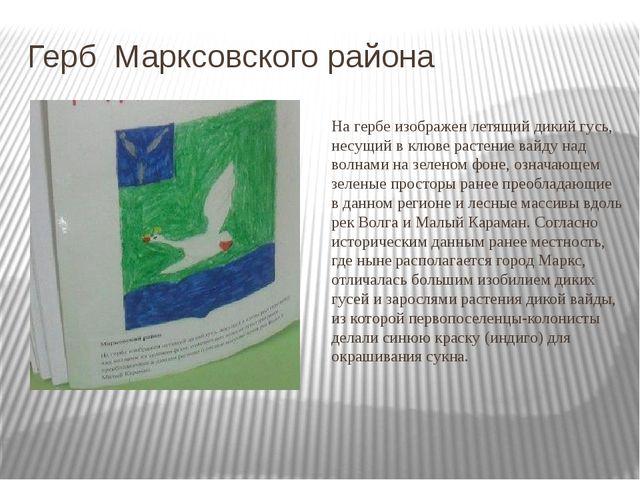 Герб Марксовского района На гербе изображен летящий дикий гусь, несущий в клю...
