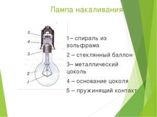 Лампа накаливания 1– спираль из вольфрама 2 – стеклянный баллон 3– металличес