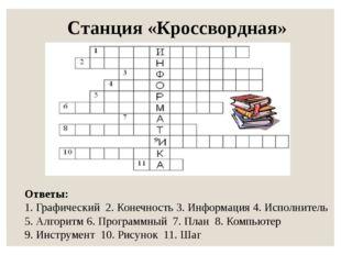 Станция «Кроссвордная» Ответы: 1. Графический 2. Конечность 3. Информация 4.