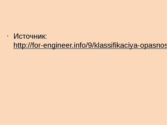 Источник:http://for-engineer.info/9/klassifikaciya-opasnostej.html