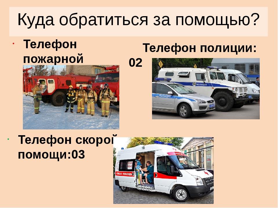 Куда обратиться за помощью? Телефон пожарной службы: 01 Телефон полиции: 02 Т...