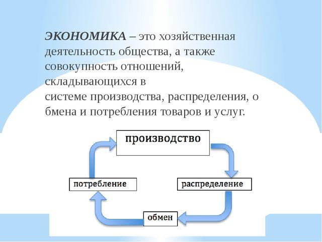 ЭКОНОМИКА – это хозяйственная деятельностьобщества, а также совокупность отн...