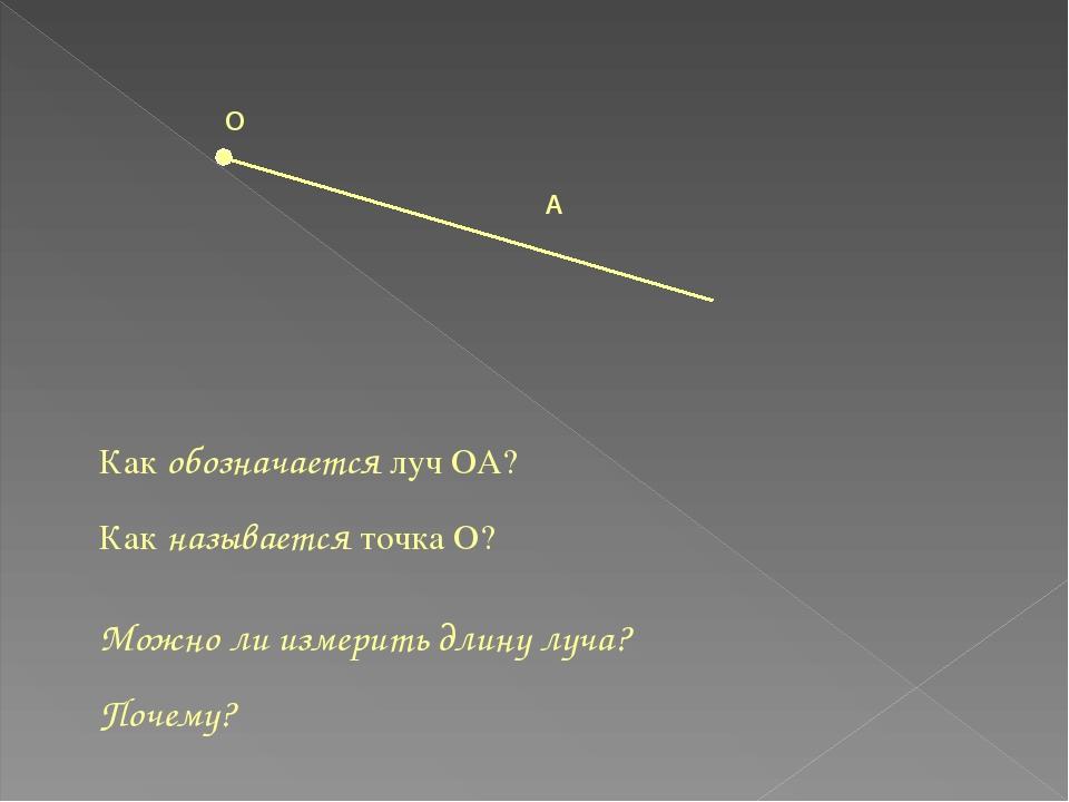О А Как обозначается луч ОА? Как называется точка О? Можно ли измерить длину...