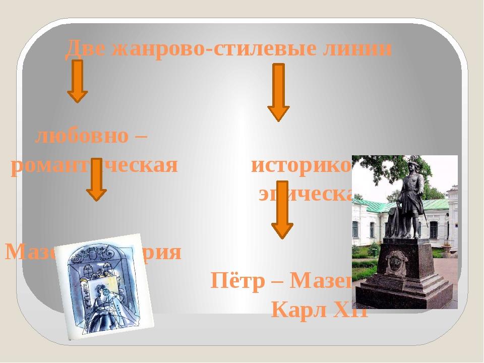 Две жанрово-стилевые линии любовно – романтическая историко – эпическая Мазе...
