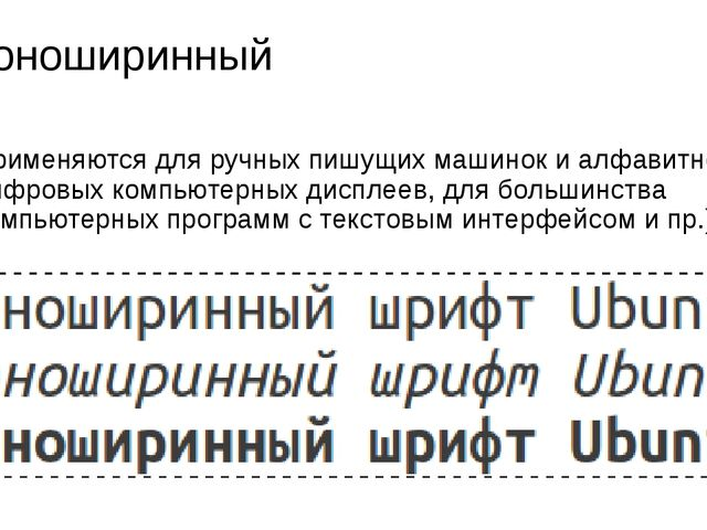 Моноширинный Применяются для ручных пишущих машинок и алфавитно-цифровых комп...