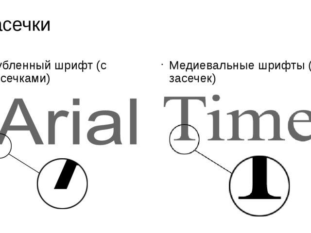 Засечки Рубленный шрифт (с засечками) Медиевальные шрифты (без засечек)