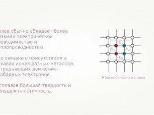 Сплав обычно обладает более низкими электрической проводимостью и теплопровод