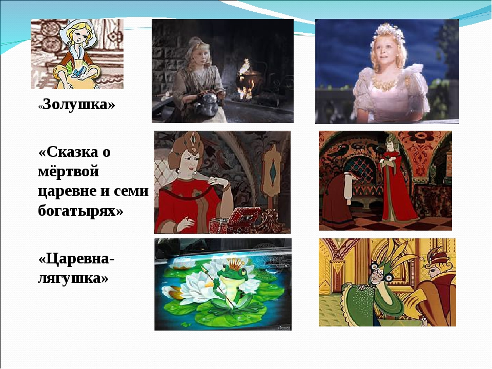 «Золушка» «Сказка о мёртвой царевне и семи богатырях» «Царевна-лягушка»