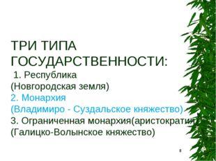ТРИ ТИПА ГОСУДАРСТВЕННОСТИ: 1. Республика (Новгородская земля) 2. Монархия (В