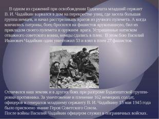 В одном из сражений при освобождении Будапешта младший сержант В. И. Чадайки