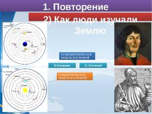 2) Как люди изучали Землю 1. Повторение ГЕОЦЕНТРИЧЕСКАЯ МОДЕЛЬ ВСЕЛЕННОЙ Н.Ко