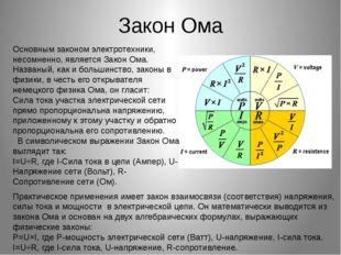 Закон Ома Основным законом электротехники, несомненно, является Закон Ома. На