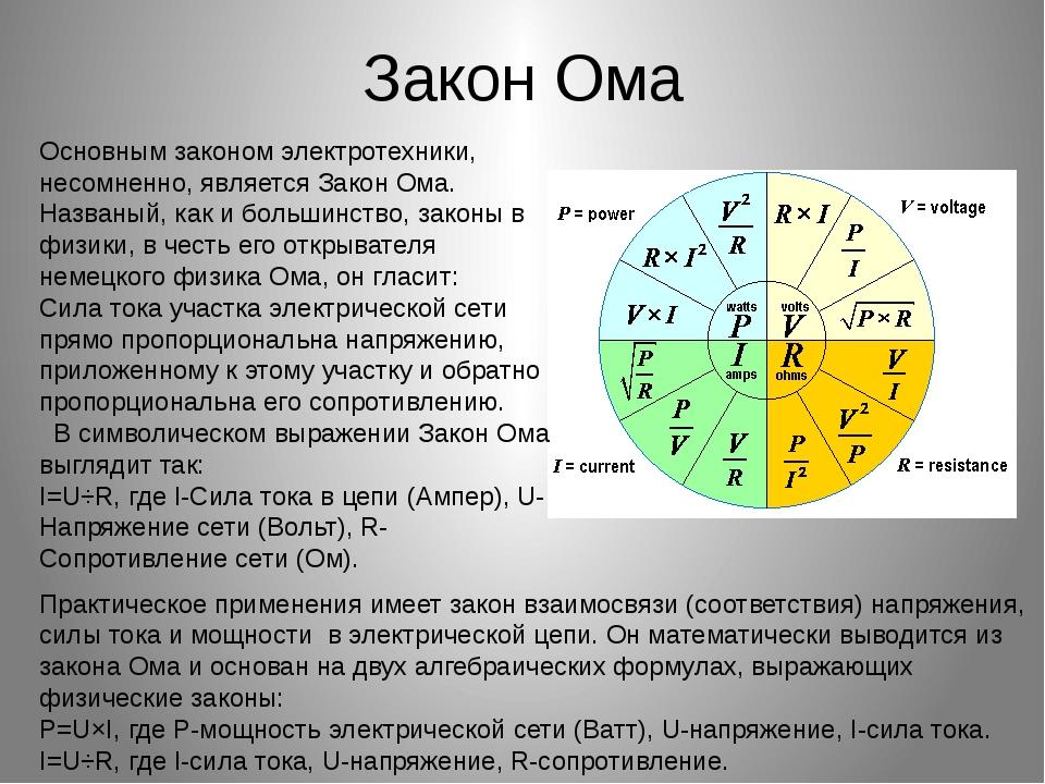 Закон Ома Основным законом электротехники, несомненно, является Закон Ома. На...