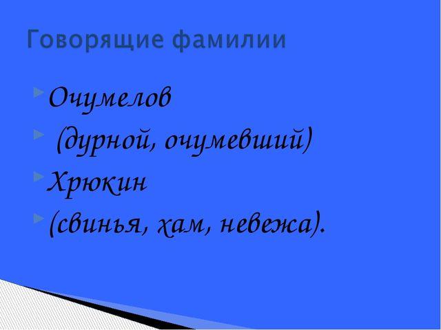 Очумелов (дурной, очумевший) Хрюкин (свинья, хам, невежа).