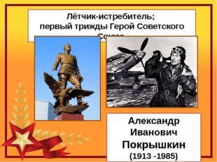 Лётчик-истребитель; первый трижды Герой Советского Союза. Александр Иванович