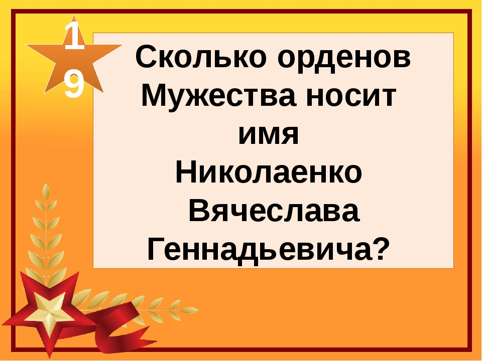 Сколько орденов Мужества носит имя Николаенко Вячеслава Геннадьевича? 19